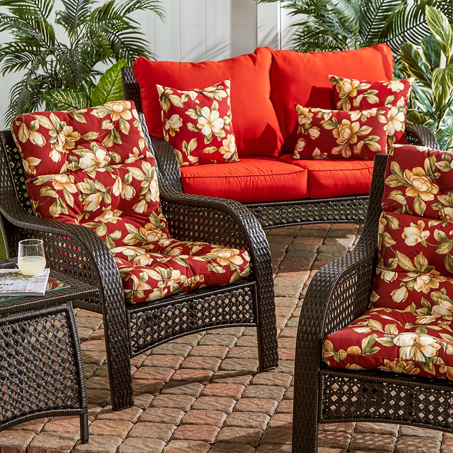 high back chair patio furniture wicker outdoor cushion red replacement for deep