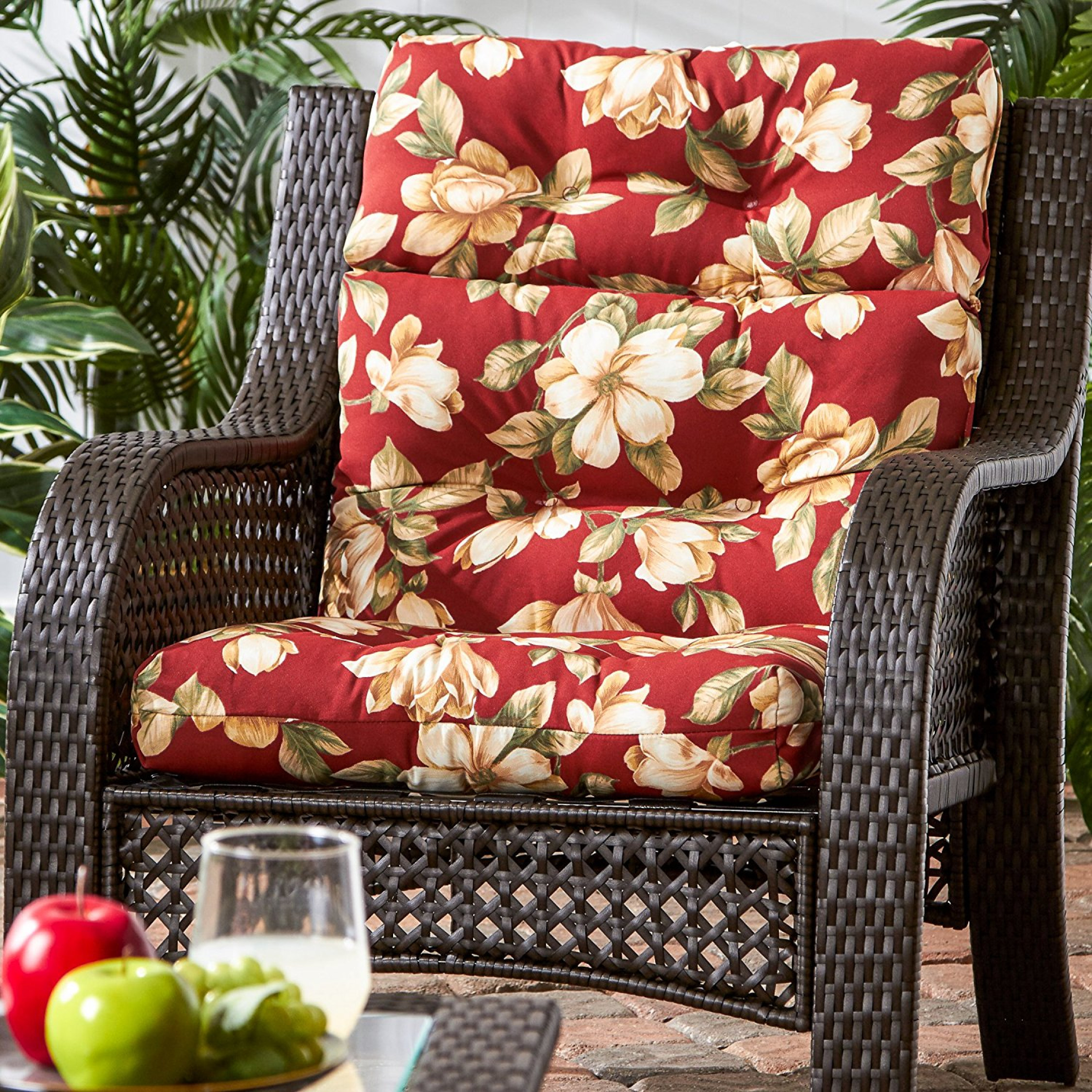 Red Patio Chairs Outdoor Patio High Back Cushion Red Replacement For Deep