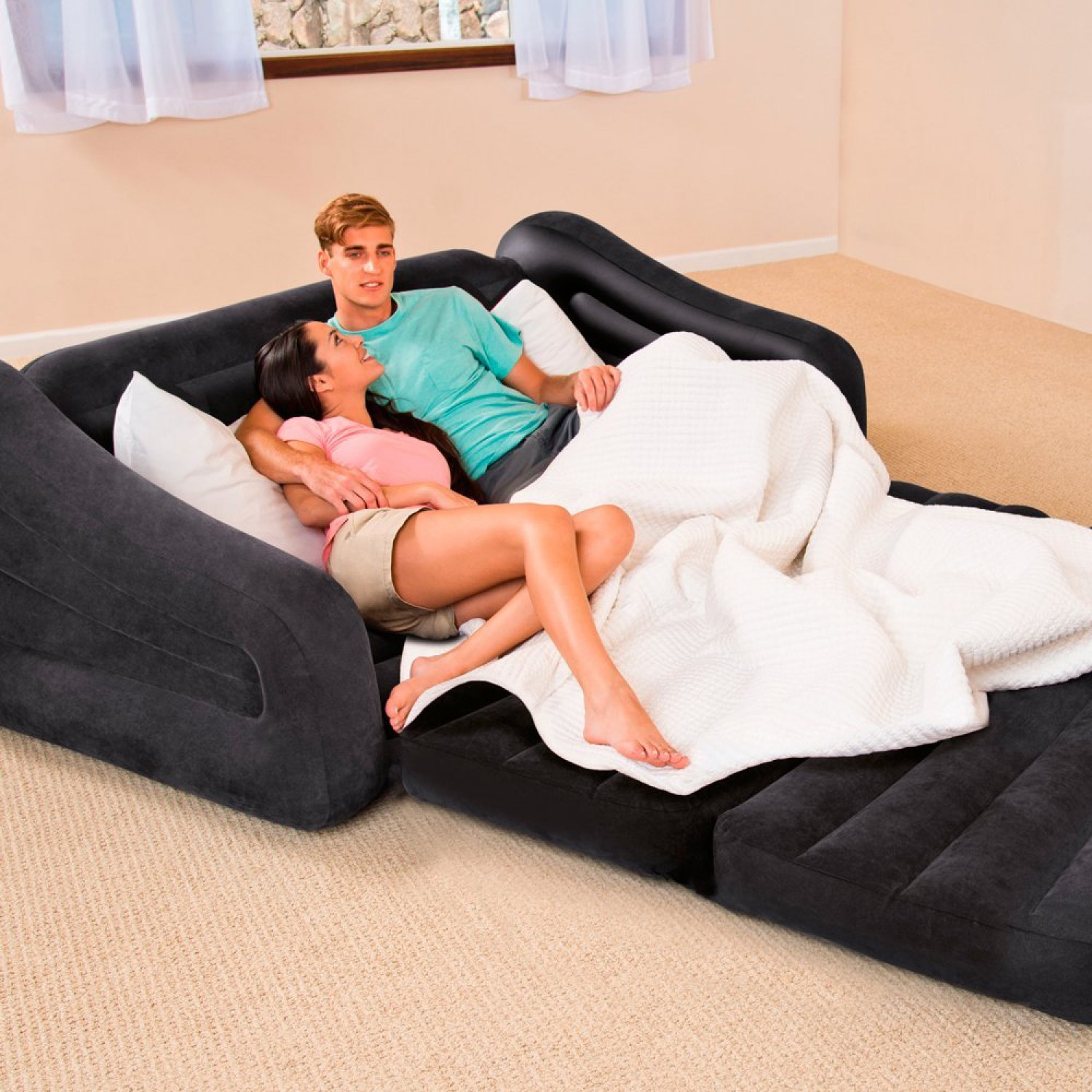 inflatable double sofa bed mattress seat w pump covers home centre black blow up camping kids air