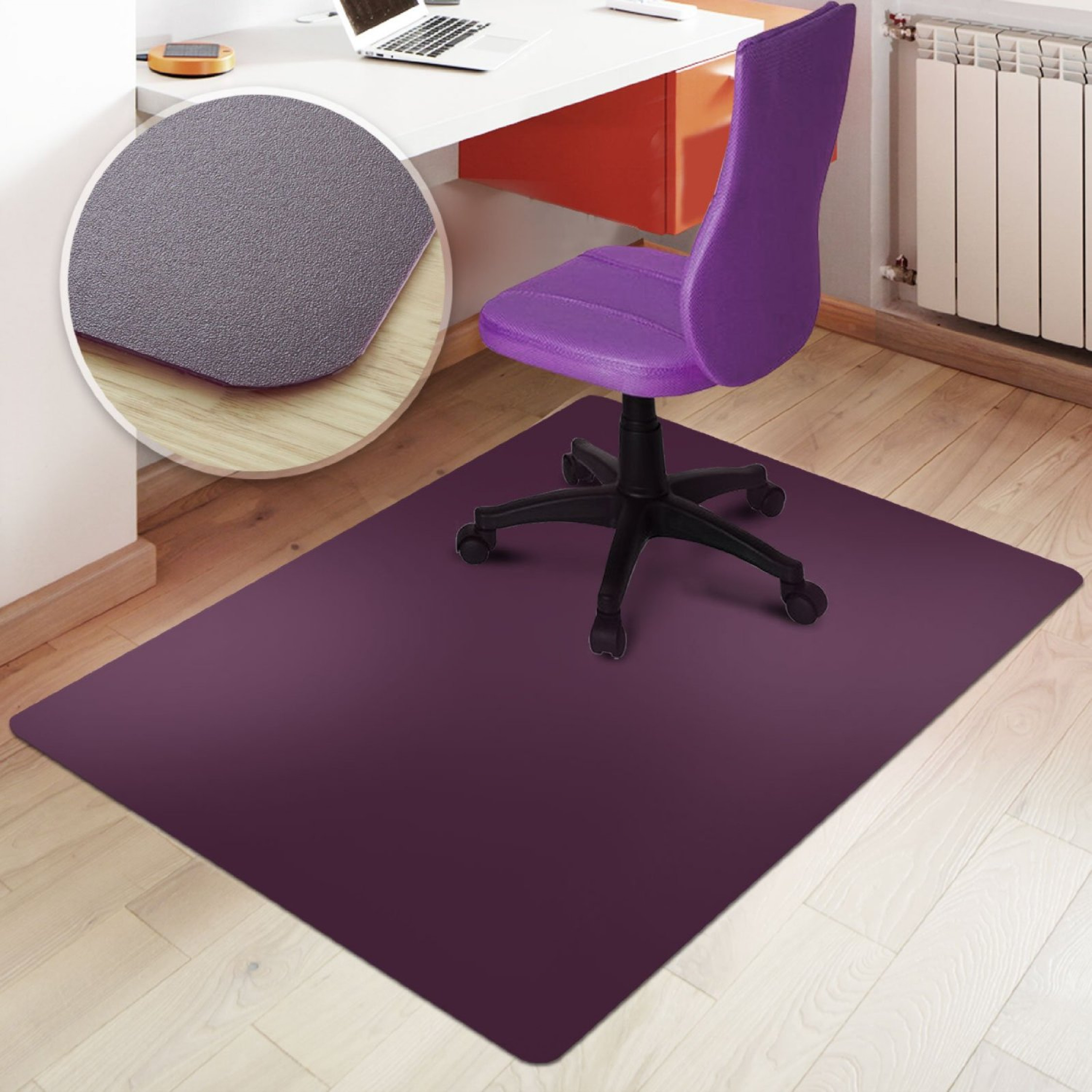 Rectangular Office Chair Mat Purple Hard Floor Protection