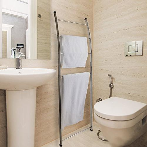 mygift 4 bar chrome plated bath towel ladder wall leaning drying rack stand bathroom storage organization home kitchen
