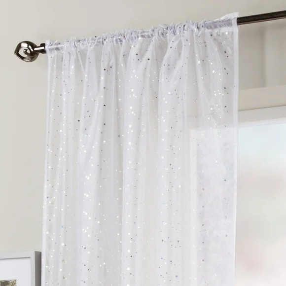 White Sparkle Voile Panel Dunelm