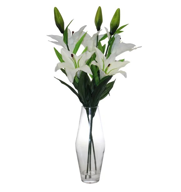 Artificial Lilies White In Glass Vase 68cm Dunelm