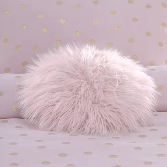 circle pink faux fur cushion