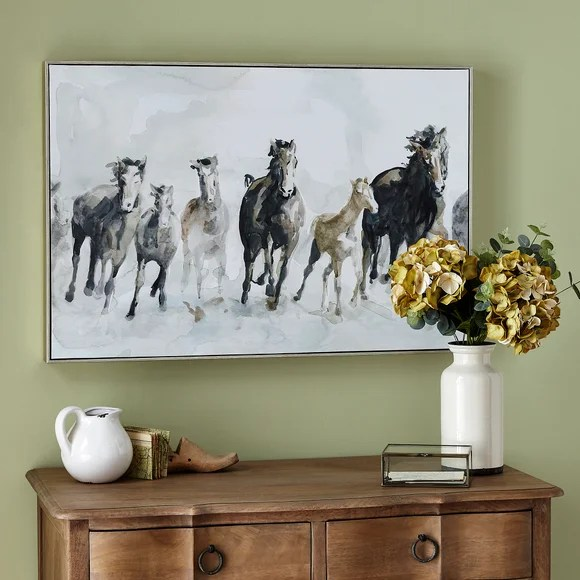 Horses Framed Canvas Dunelm