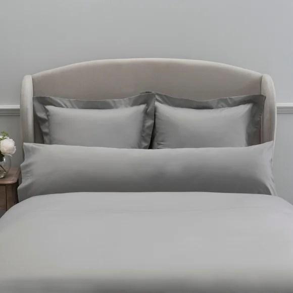 dorma 300 thread count 100 cotton sateen plain silver bolster pillowcase