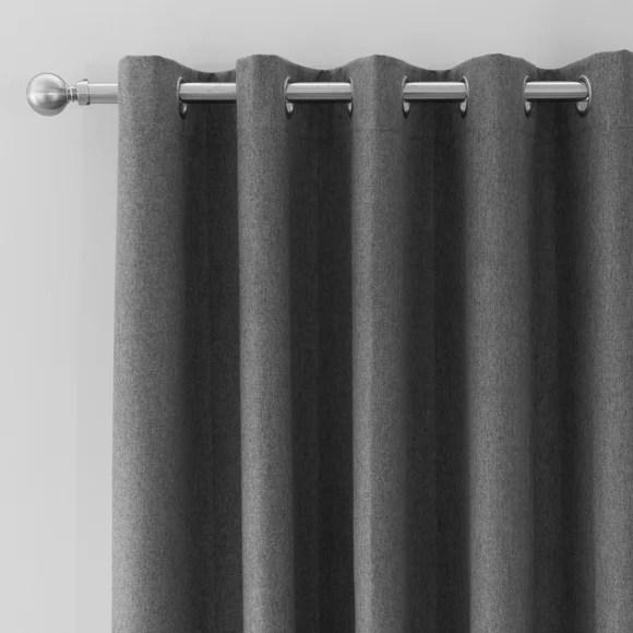 luna brushed charcoal blackout eyelet door curtain