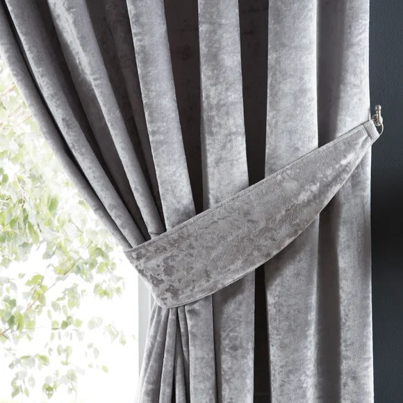 crushed velour silver pencil pleat curtain tie back