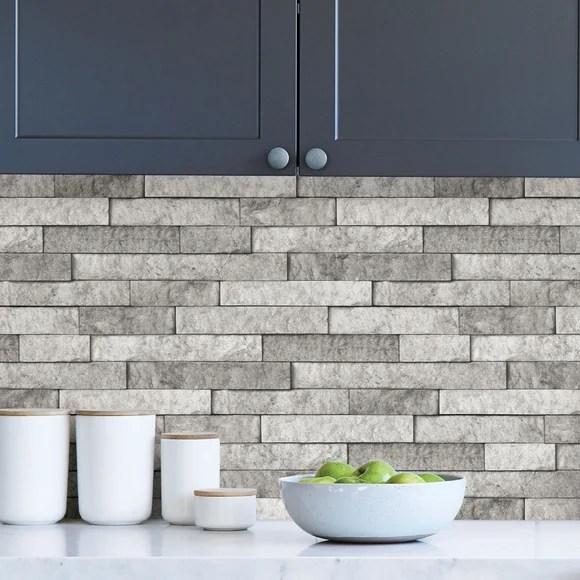 grey stone self adhesive backsplash tiles