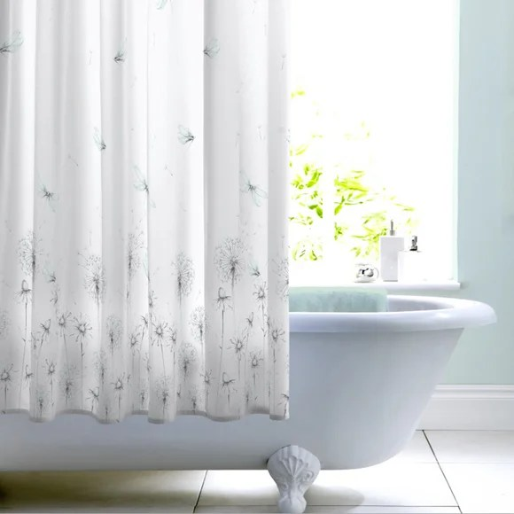 dragonfly mint shower curtain