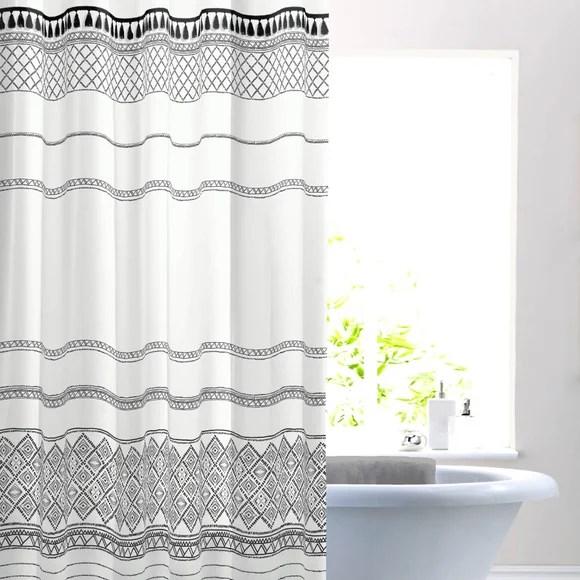 nomadic tassel monochrome shower curtain