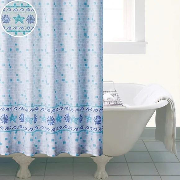 Blue Mosaic Shower Curtain Dunelm
