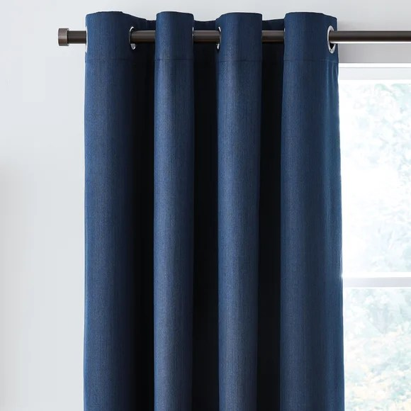Solar Navy Blackout Eyelet Curtains Dunelm