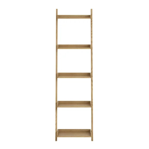 Sidmouth Oak Narrow Ladder Bookcase Dunelm