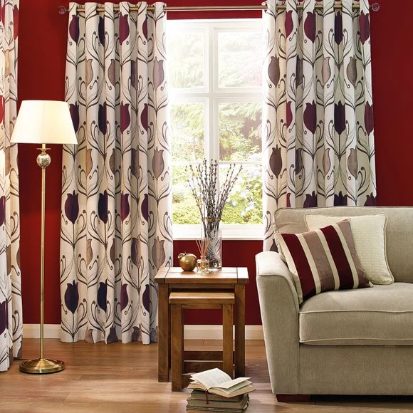 Wine Lalique Eyelet Curtain Collection Dunelm