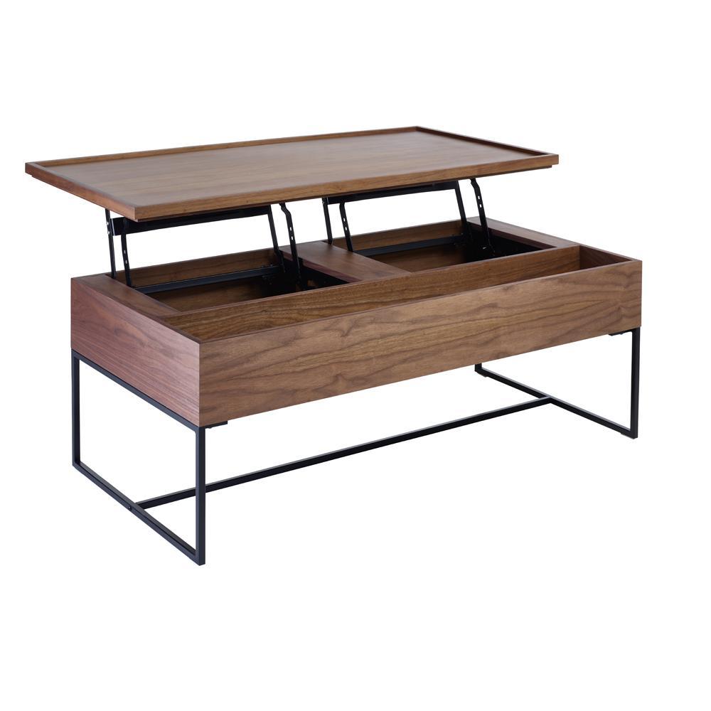 trim lift up large storage coffee table walnut dwell 449