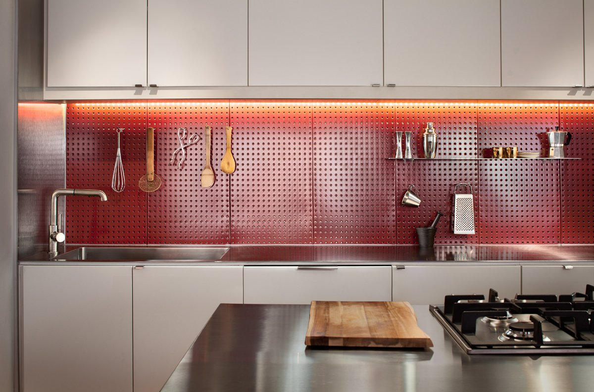 kitchen pegboard floating cabinets clever red backsplash in a remodeled collection of 5 photos by allie weiss dwell