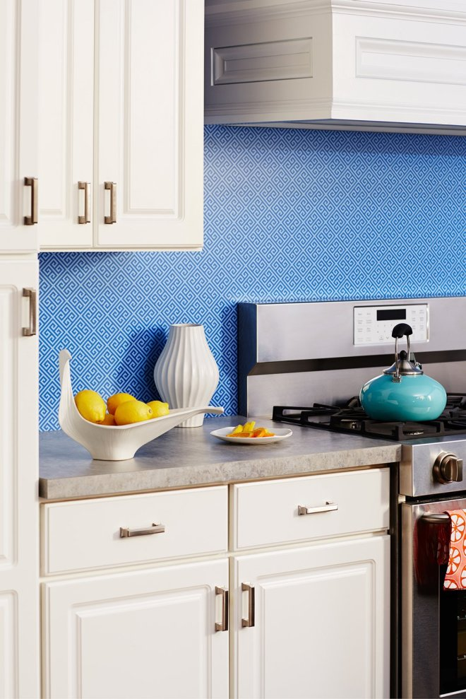 25 Backsplash Ideas For Your Kitchen Renovation - Photo 13 of 25 - Rendered in sharp blue, the timeless motif of Greek Key is used as this kitchen's backsplash.