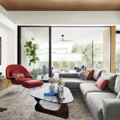 Furniture Design Of Living Room Wall Cabinets Best 60 Modern Floors Photos And Ideas Sunlight Floods The Rear House Through Large Site Glazed Windows In