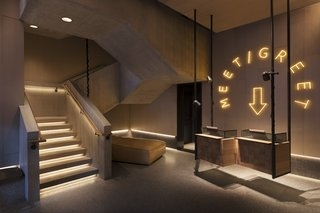 Best 60 Modern Staircase Concrete Tread Design Photos And Ideas   Stairs Design In Lobby   Entrance Lobby   Foyer   Architectural   Circle Elevator Design Home   White