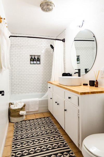 bathroom subway tile walls alcove tubs
