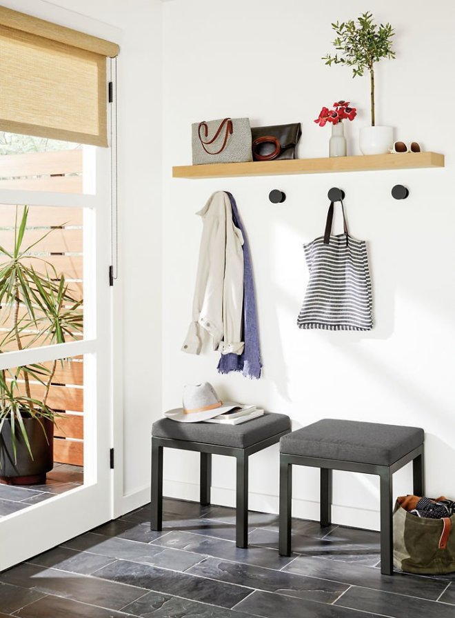6 Hallway Hacks to Turn Them Into Usable Space - Photo 12 of 12 - A drop-off station can consist of anything, from nothing more than a narrow shelf with a mirror above it, to a series of hooks with seating, storage, and plants.