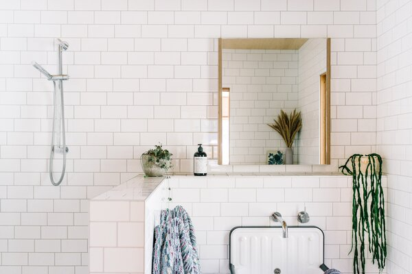 modern bathroom subway tile walls open