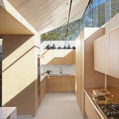 Kitchen Stone Cutting Block Table Best Modern Slab Backsplashes Design Photos And Ideas Joinery Was Done By Roma Casa Kitchens Clerestory Windows Allow Mountain Views Light