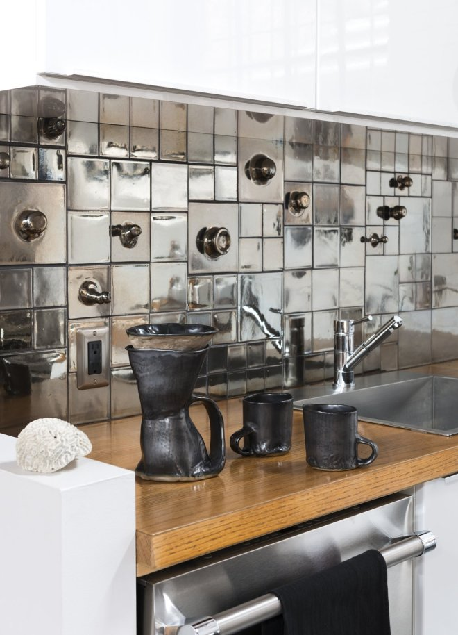 25 Backsplash Ideas For Your Kitchen Renovation - Photo 14 of 25 - Kitchen Sink with J Schatz Platinum Formations Tile Backsplash and Brutal Coffeemaker