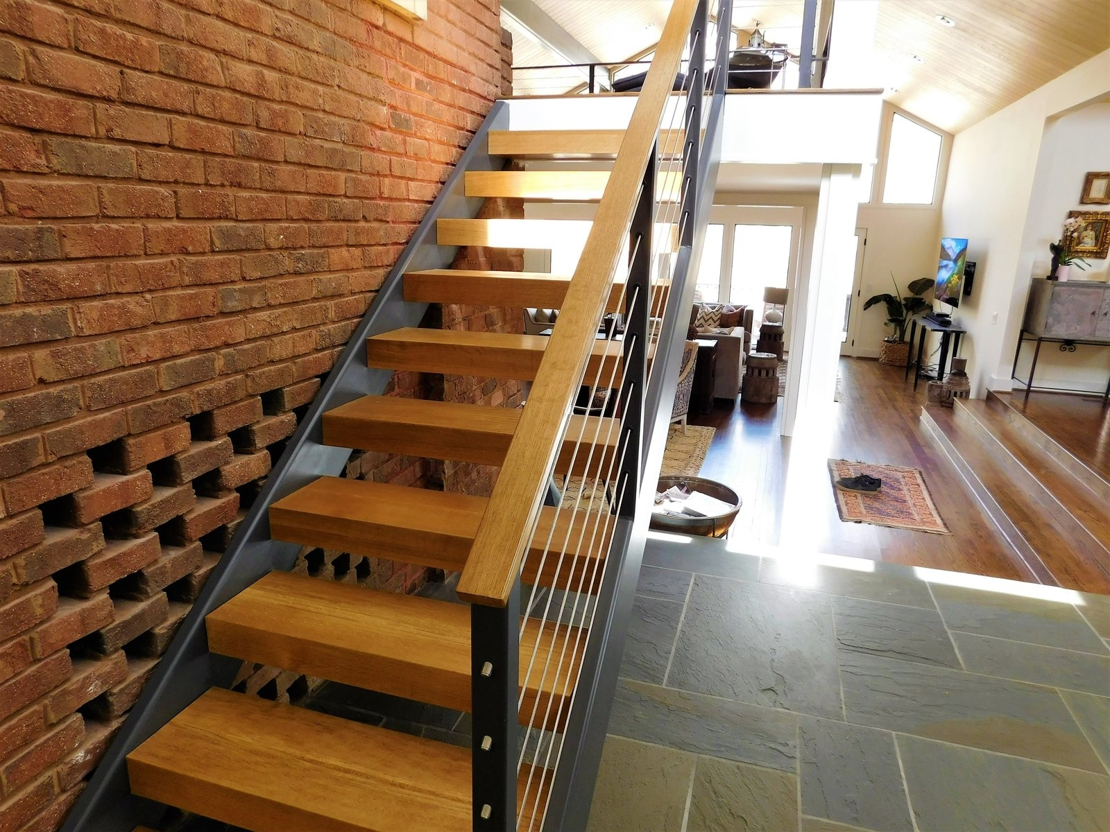 Photo 15 Of 31 In The Mccarthy Project By Actual Size Builders   Custom Wood Stair Treads   Solid Wood   Reclaimed Wood   Red Oak Stair   Slate Tile   Los Angeles