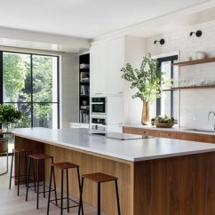 White Appliances Kitchen Wooden Set Best 60 Modern Design Photos And Ideas Dwell In The Oak Floors Inset Walnut Cabinets Fireclay Subway Tile