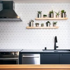 Kitchen Backspash Small Rolling Island Best 4 Modern Ceramic Tile Backsplashes Design Photos And The Backsplash Features Geometric Wall Tiles From Wayfair While Floating Open Shelves Create