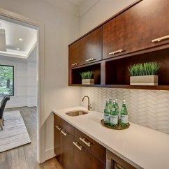 Glass Kitchen Backsplash Southwest Best Modern Tile Backsplashes Design Photos And Ideas In This Butler S Pantry The White Herringbone Sets Off Darker Wood Cabinetry