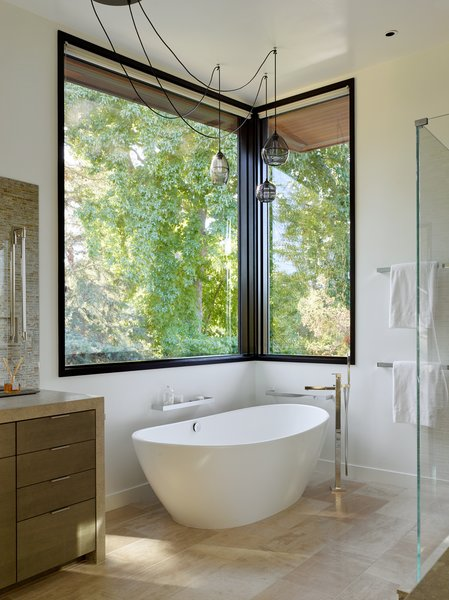 A Standalone Soaking Tub Offers Respite At The End Of A Long Day