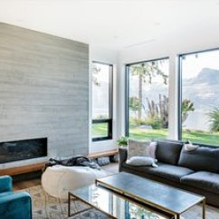 Living Room Designs With Corner Fireplace Blue Velvet Set Best Modern Design Photos And Ideas Dwell Board Formed Concrete Punctuates The Home Including In Where It