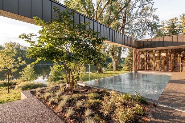 modern outdoor stone patio porch deck
