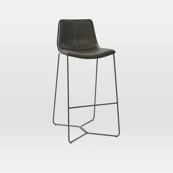 chair stool black bronze metal chairs shop modern furniture dining kitchen bar stools dwell west elm slope leather counter