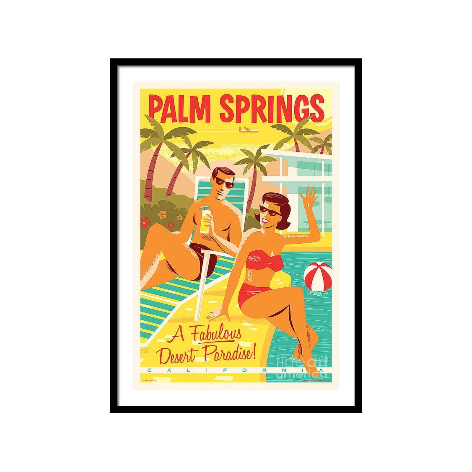 palm springs poster retro travel by jim