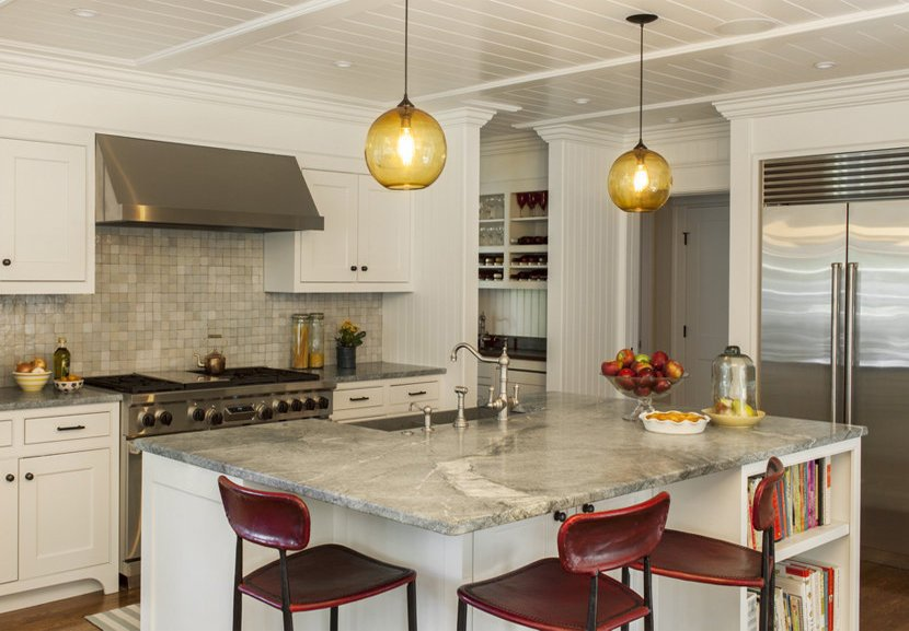 Contemporary Kitchen Island Lighting Shines In New England Residence