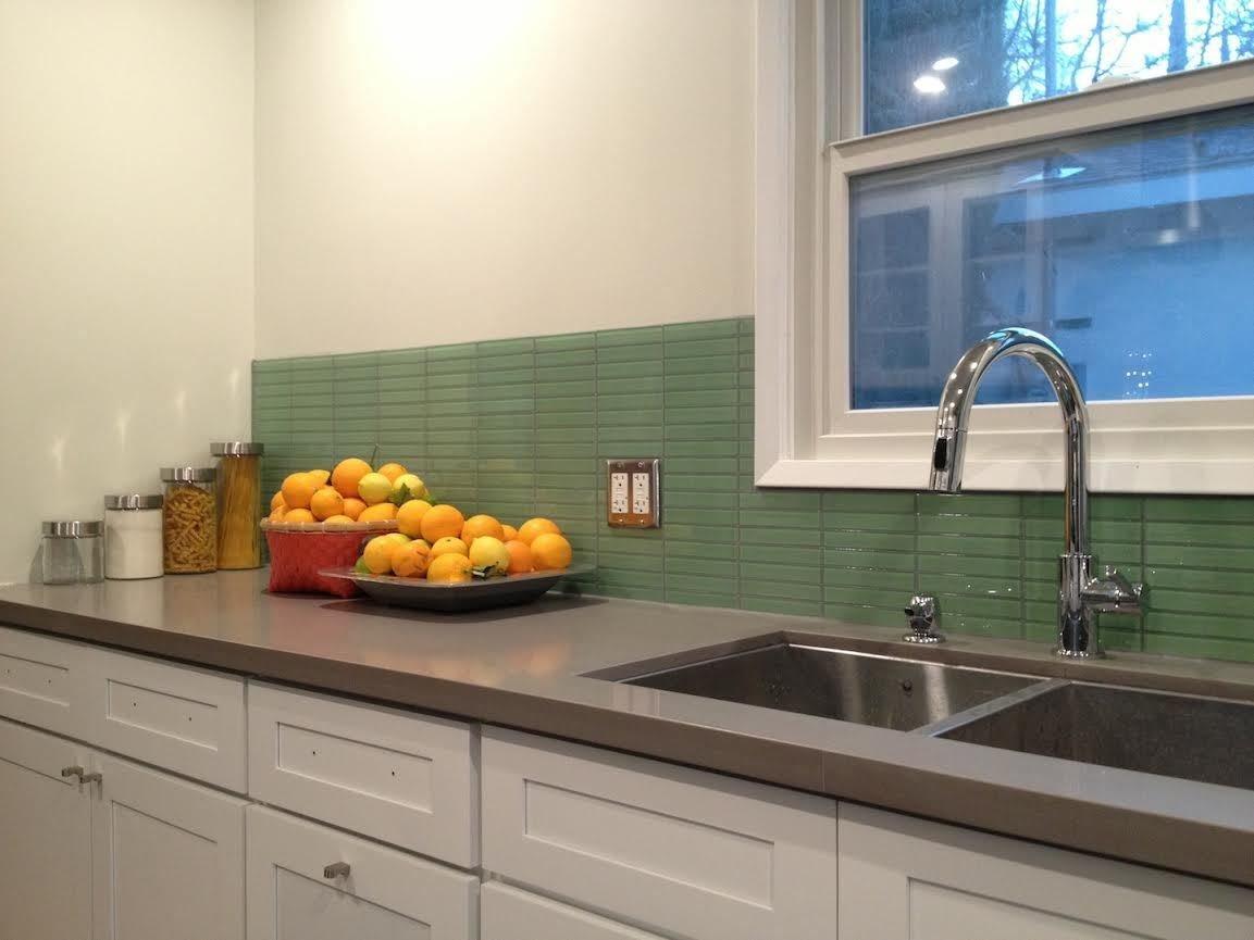 retro mint green glass tile backsplash