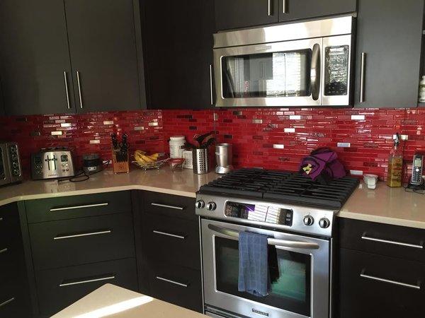 royal red glass tile kitchen backsplash
