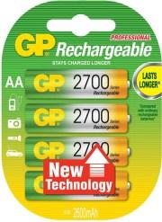 RECHARGEABLE BATTERY GP 6 AA 2700MAH NIMH 4PCS