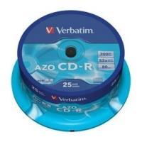 VERBATIM CD-R 80MIN - 700 MB CRYSTAL AZO 52X CAKEBOX 25PCS