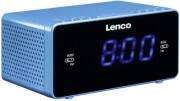 LENCO CR-520 STEREO CLOCK RADIO WITH 1.2'' BLUE DISPLAY AND USB CHARGER BLUE