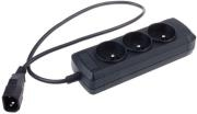 EXTREME MEDIA NSP-0517 POWER STRIP 3 SOCKETS FOR UPS SYSTEM (IEC CONNECTOR) BLACK