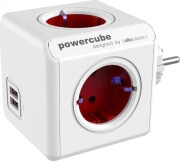 ALLOCACOC POWERCUBE ORIGINAL EXTENDED 4AC TYPE F & 2 USB PORTS RED
