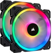 CORSAIR LL140 RGB 140MM DUAL LIGHT LOOP RGB LED PWM FAN DUAL PACK WITH LIGHTING NODE PRO