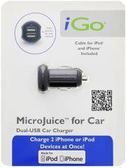 IGO MINI DUAL CAR CHARGER DUAL USB 2100MAH BLACK WITH APPLE 30PIN CABLE