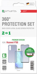 4SMARTS 360° PREMIUM PROTECTION SET ''CASE FRIENDLY'' WITH COLOUR FRAME GLASS FOR HUAWEI P30 BLACK
