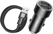 BASEUS UNIVERSAL CAR CHARGER SMALL SCREW WITH CABLE TYPE-C 3.4A BLACK